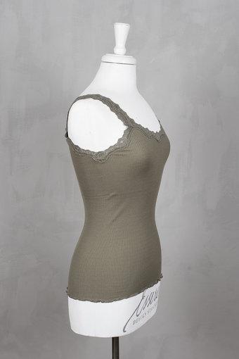 Rosemunde - Silk Top Regular w rev vintage lace Olive Shade