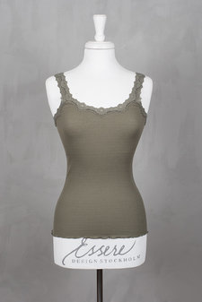 Rosemunde - Silk Top Regular w rev vintage lace Olive Shade