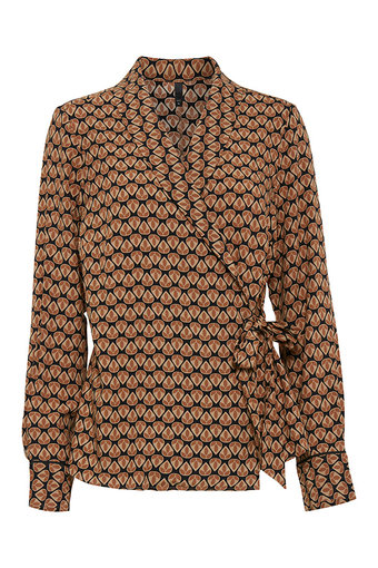 Pulz - Veronika L/S Wrap Blouse Autumn Spice
