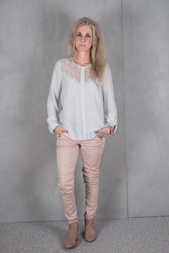 Rosemunde - Blouse w Lace Cement Grey