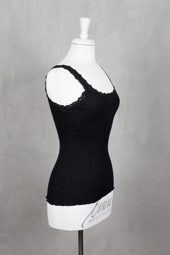 Rosemunde - Silk Top Regular w rev vintage lace Black