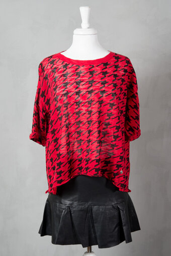 Pieszak - Houndstooth Print Knit Love Red