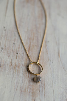 Orelia - Circle Stone drop Necklace Pale Gold