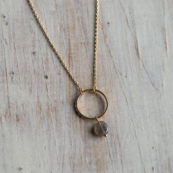 Orelia - Circle Stone drop Necklace Pale Gold