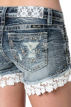 Miss Me - Flower Lace Studded Dark Wash Denim Shorts