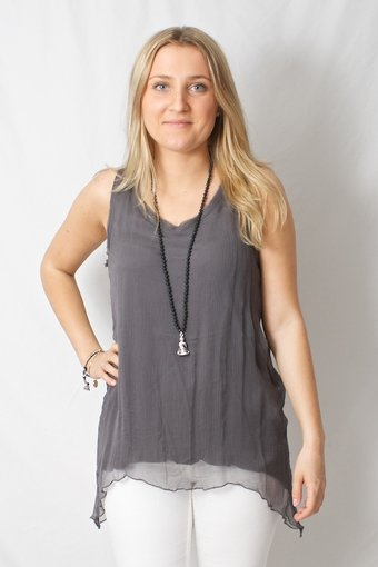 Pulz Jeans - Dynasty sleeveless blouse Castle Rock
