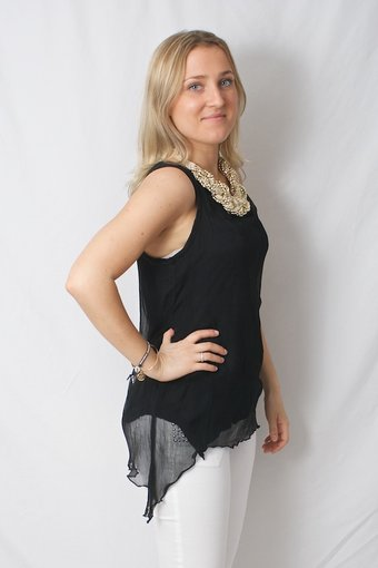 Pulz Jeans - Dynasty sleeveless blouse Black