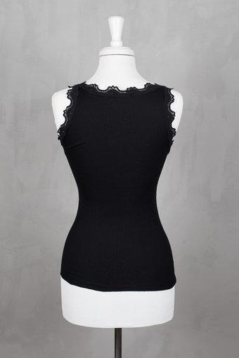 Rosemunde - Silk Top Regular w/vintage lace Black