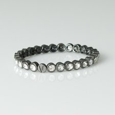 VÅGA - Bracelet Metal with Round crystal Gunmetal