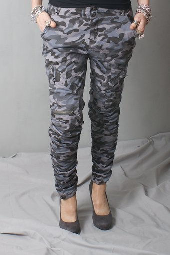 Culture - Oest  Pant Malou Fit Grey Camouflage