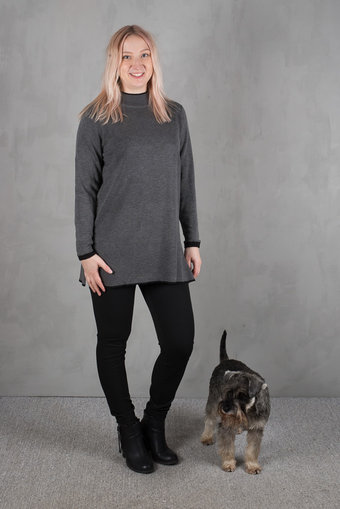 Isay - Lara Long Pullover Grey Melange