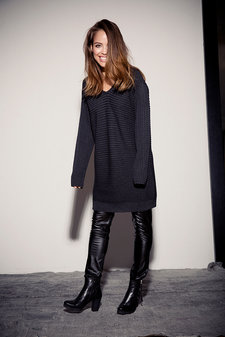 Isay - Lil Knit Dress Dark Grey Melange