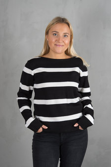 Pulz - Lori Knitted Blouse Black / White