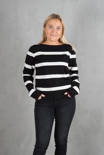 Pulz - Lori Knitted Blouse Black / White