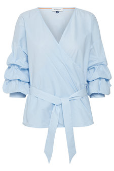 Denim Hunter - Alexia Wrap Blouse Light Blue Striped