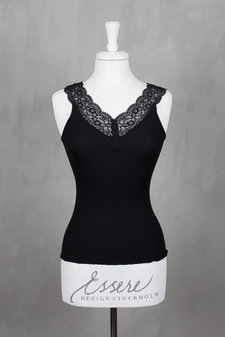 Rosemunde - Silk Top Regular w/feminin lace Black