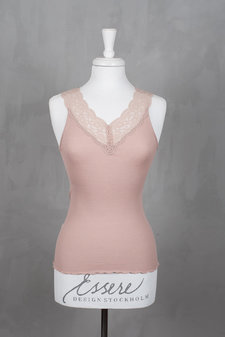 Rosemunde - Silk Top Regular w/feminin lace Vintage Powder