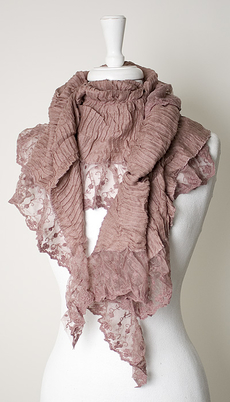 Maya - Scarf Plissé Lace Dark Rose