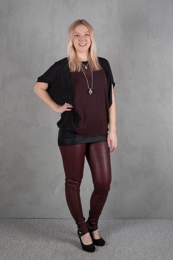 Pulz - Tamarra Bat ls blouse Dark Fudge /  Black