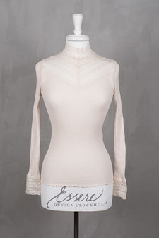 Rosemunde - Silk T-shirt regular ls w wide lace Soft Powder