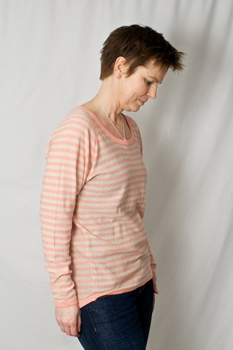 Culture - Rolach Knit Blouse Coral Almond Stripe