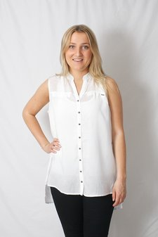 Pulz Jeans - Saida Sleeveless Shirt Optical White