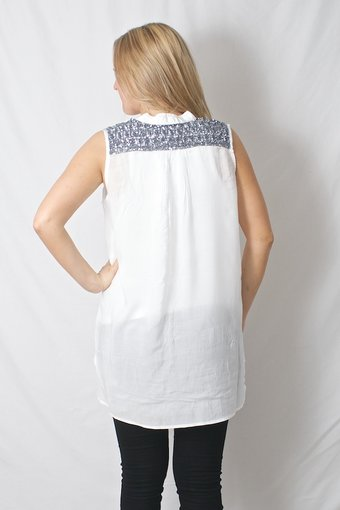 Pulz Jeans - Saida Sleeveless Shirt Optical White