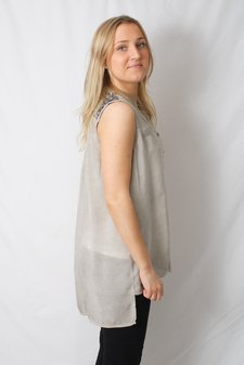 Pulz Jeans - Saida Sleeveless Shirt Dove Pigment