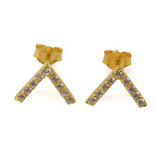 Syster P - Strict Sparkling V Earrings Gold