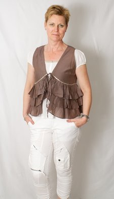 Tina Wodstrup - Frill Top Warm Grey Silk