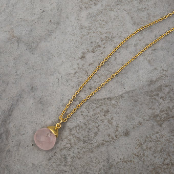 Syster P - Teardrop Necklace Gold Rose Quartz