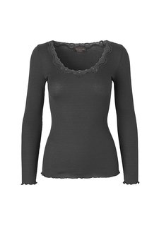 Rosemunde - Silk T-shirt regular ls  w rev vintage  lace Raven