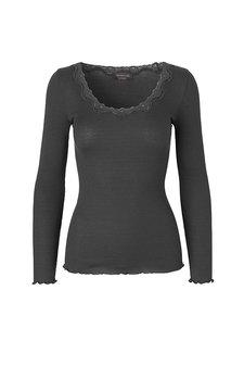 Rosemunde - Silk T-shirt regular ls  w rev vintage  lace Raven