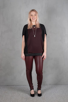 Plus Fine - Amy Leather Leggings Burgundy