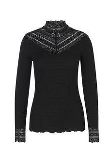 Rosemunde - Silk T-shirt regular ls w wide lace Black