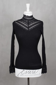 Rosemunde - Silk T-shirt regular ls w wide lace Black