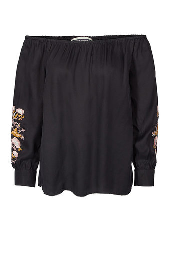 Mos Mosh - Reed Embroidery Blouse Black