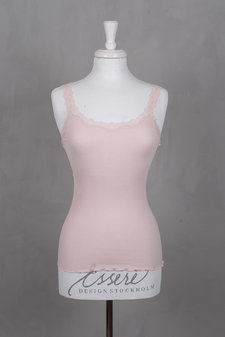 Rosemunde - Silk Top Regular w rev vintage lace Soft Rose