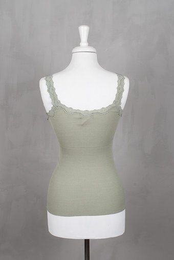 Rosemunde - Silk Top Regular w rev vintage lace Vintage Olive