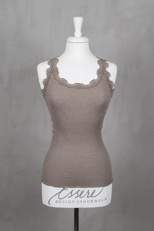 Rosemunde - Silk Top Regular w/vintage lace Brown Melange