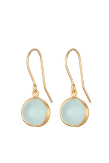 Pernille Corydon - Aura Green Earhooks  Goldplated Silver