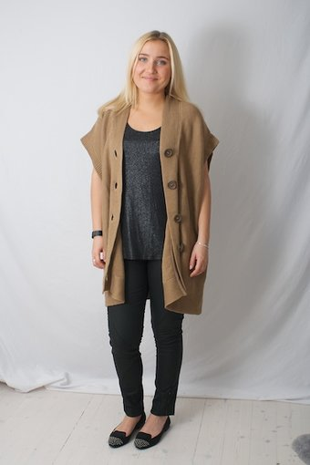 Pulz Jeans - Mya wide knit cardigan Camel Brown