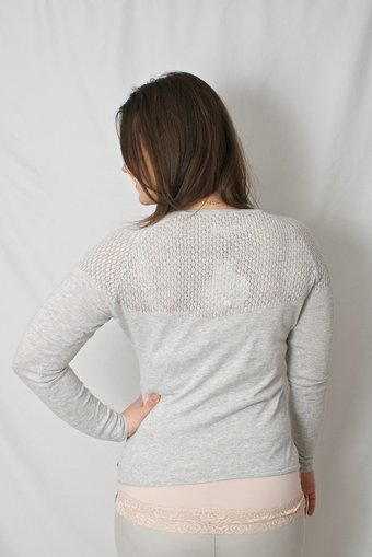 by Ti Mo - Crochet Sweater Light Grey Melange
