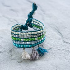 GOODHABIT - Armband Three Tassels Turquoise