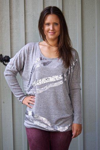Culture - Molina Knit Long Blouse Light Grey Melange