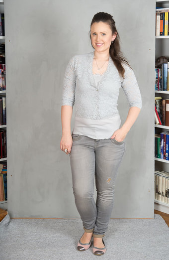Rosemunde - Cardigan Lace 3/4 sleeve Cement grey