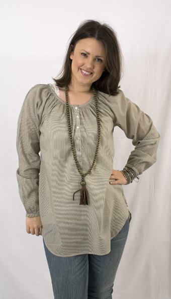 kaffe - Amber Striped tunic Dusty Olive
