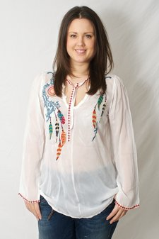 Johnny Was - Feather Blouse White