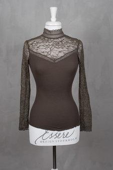 Rosemunde - Silk T-shirt regular ls turtleneck w lace Deep Olive
