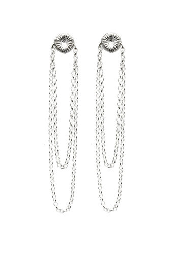 ag by Annika Gustavsson - Örhängen Silver Knappfossil med dubbla kedjor
